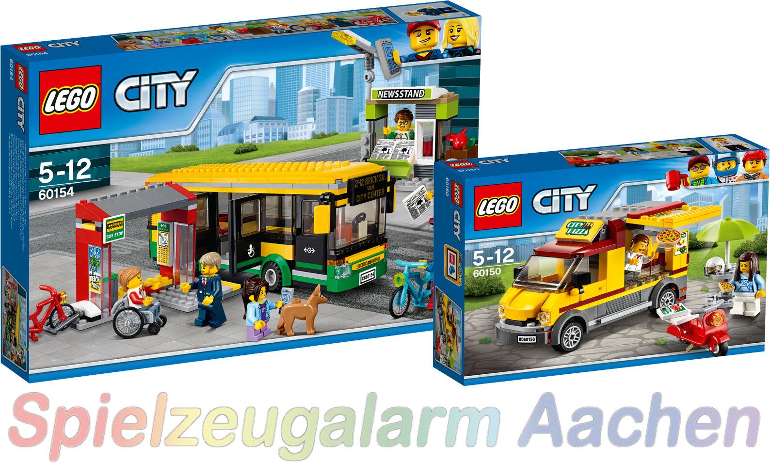 LEGO CITY Busbahnhof 60154 + 60150 Pizzawagen Central Bus Station N7/17