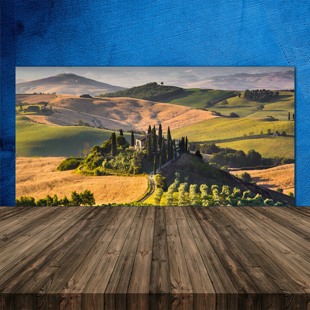Crédence de cuisine en verre Panneau 120x60 Paysage Champ Montagnes