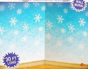 30ft frozen snowflake winter wall mural christmas scene christmas wall murals beautiful magical indoor scenes