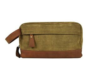 c781f3a06c09 Image is loading Canvas-Leather-Toiletry-Bag-Mens-Travel-Shaving-Case-