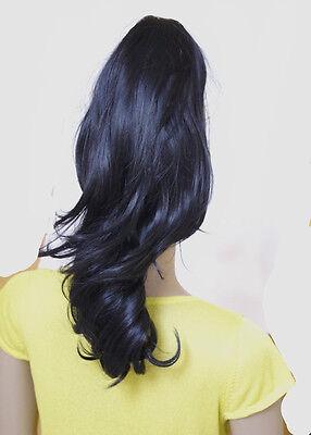 Haarteil Zopf Haarverlängerung  mit Klammer Variante   gewellt  Neu ENLJ