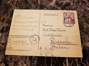 1941 Warsaw Ghetto Judenrat Poland Germany Postcard Cover 2 Italy