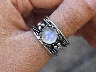 Large Adjustable Tibetan Big Round Rainbow Moonstone Gemstone Dotted Amulet Ring