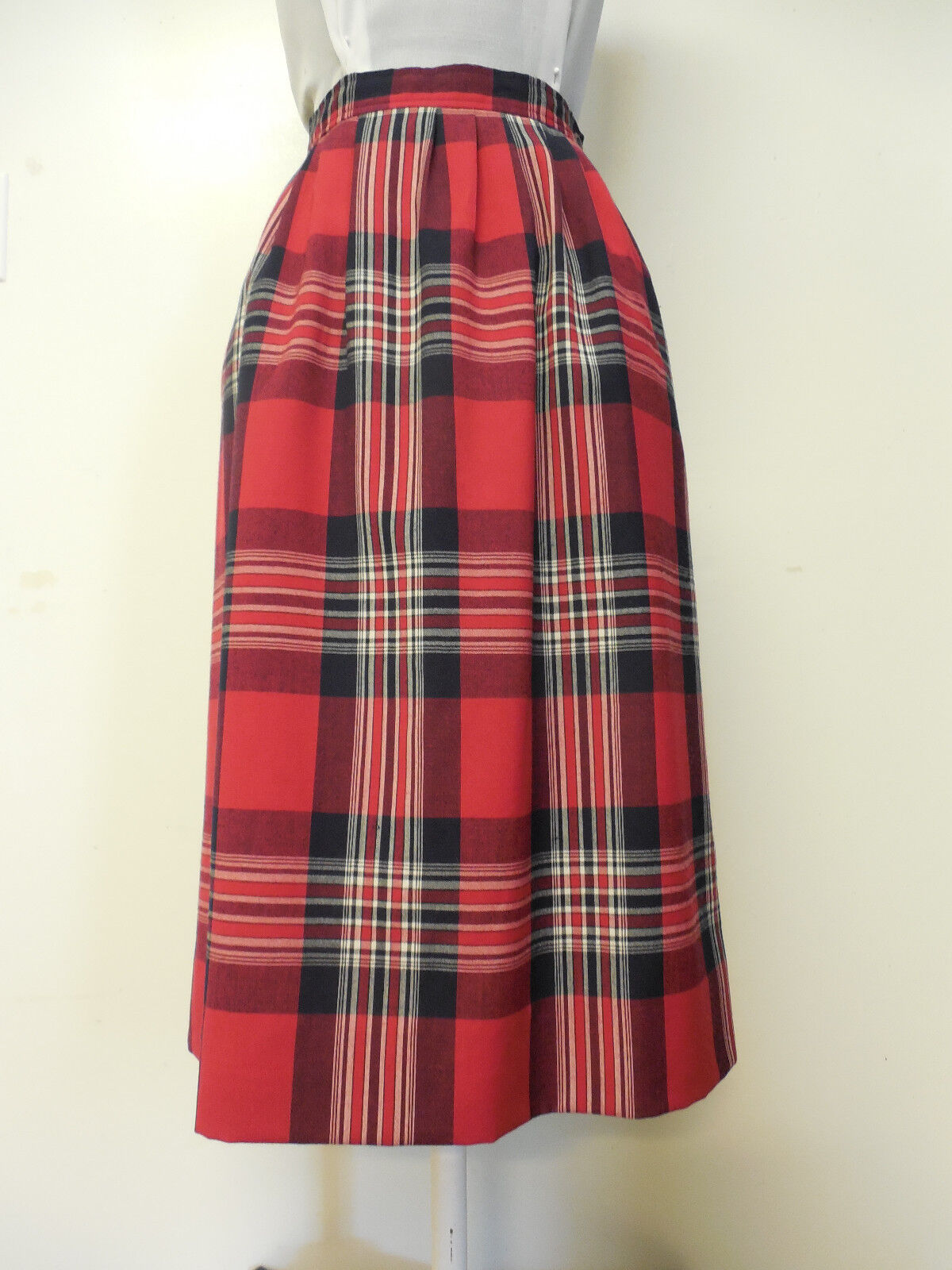 PENDLETON Vintage Red Plaid Summer Weight Wool Fully Lined Skirt