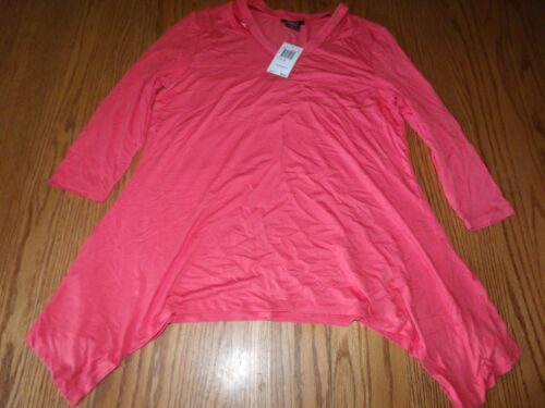 NWT Womens PREMISE TOP COLD SHOULDER TOP TROPICAL CORAL TUNIC  SMALL MEDIUM XL