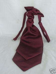 MENS Burgundy Polyester Scrunchie Ruche Wedding Tie-Cravat > P&P 2UK >>1st Class
