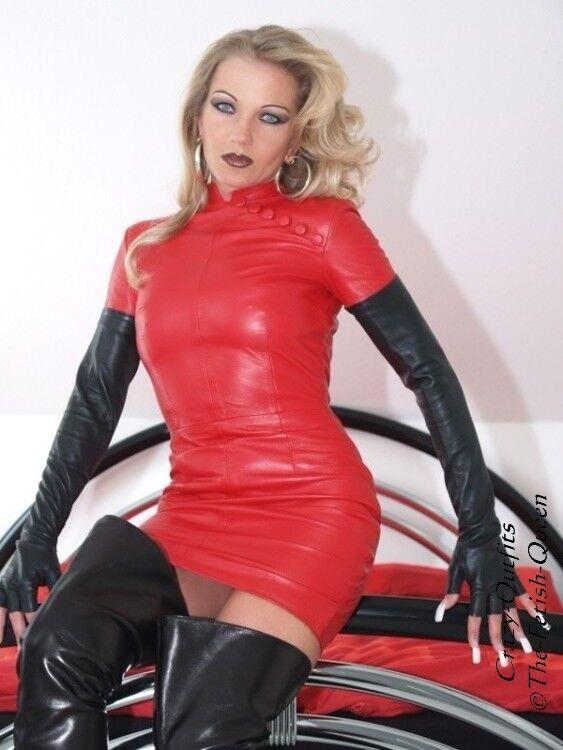 Lederkleid Leder Kleid red Mini Asia Größe 32 - 58 XS - XXXL
