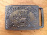 "Vintage 70s Henry Ford Detroit Model T Car Solid Brass Chunky Belt Buckle 3.75"""
