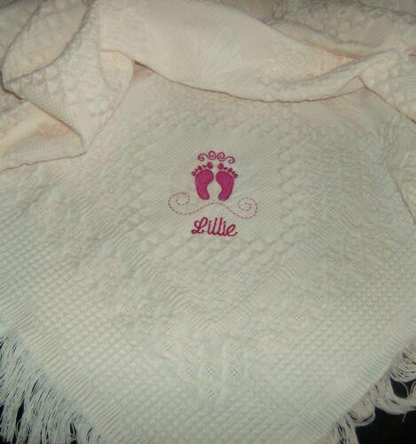 Personalisiert Deluxe Baby Schal Decke Pink Bestickt Füße Design
