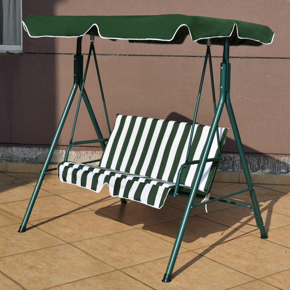 Patio Garden Bench   Seat Cover Shade Swing Sofa Glider Hammock Grün Stripes