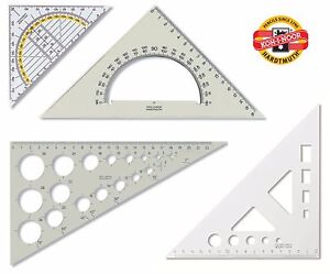 Set Square Template Protractor Koh I Noor Scale School Office Math