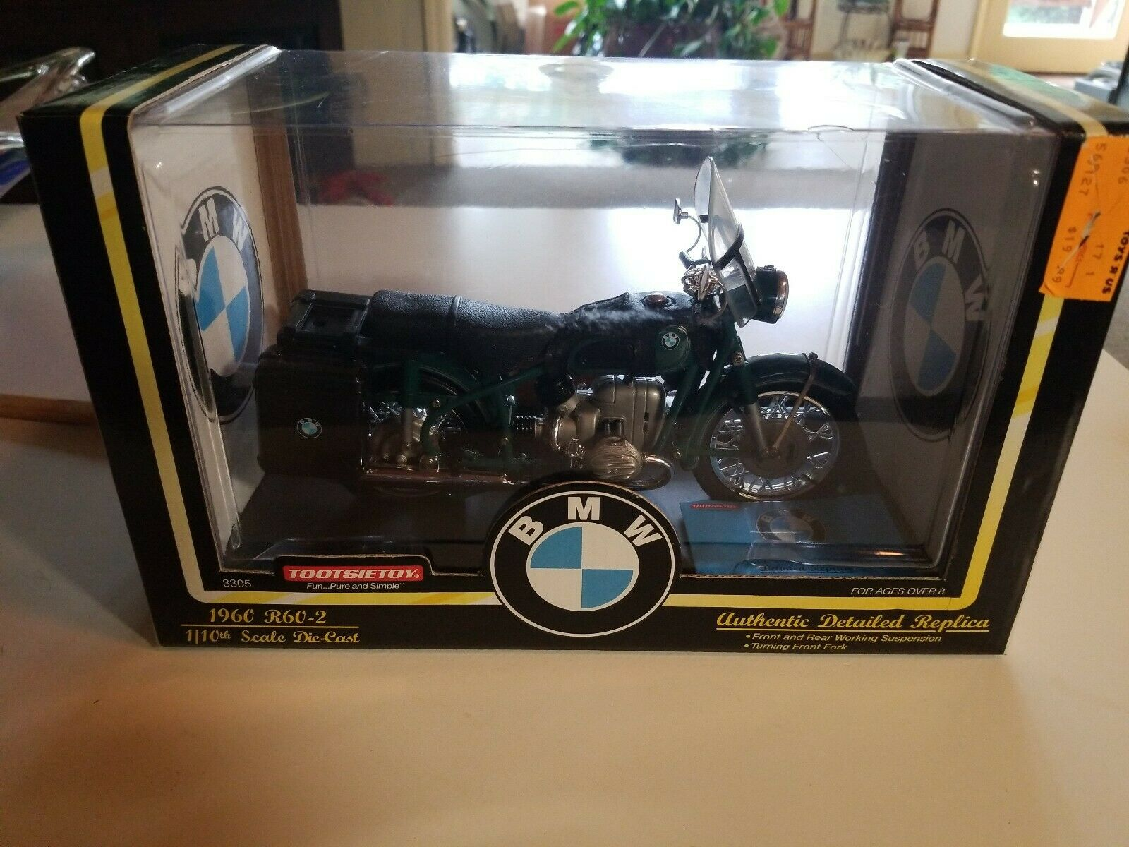 Tootsie Toy 1960 BMW R60-2 échelle 1 10 détaillée DIECAST METAL.  3305 RARE & NEW.