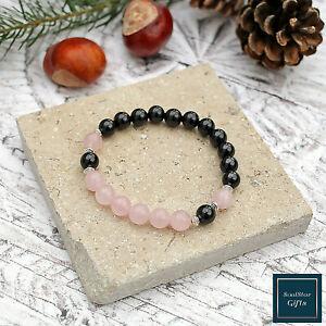 Black-Tourmaline-Rose-Quartz-Bracelet-8mm-Stone-Beads-17cm-Stretch-Fit