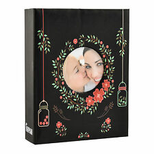 """6x4"""" 200 Photos Large Slip in Photo Album with front Window - Floral Black"""
