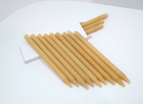 12 X High Quality Beeswax Hollow Cylinder Wax Candles Long Natural Candling