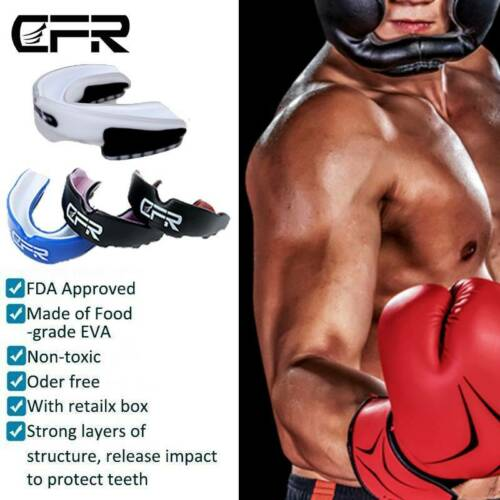 Mouth Guard Teeth Protection Gum Shield Gel Junior Sports MMA Boxing Rugby White