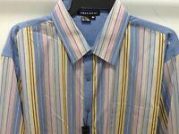 Tulliano Men's Designer Shirt - Blue Stripped Big & Tall Sizes & Tags