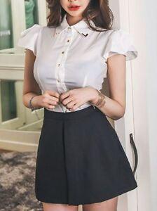 Élégant costume ensemble femme jupe robe fourreau chemise blanc noir ... 8690eb60eacc