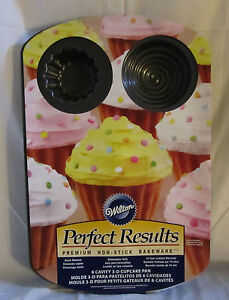 Wilton Perfect Results Premium Non-Stick 6 Cavity 3D Cupcake Pan Dishwasher Safe