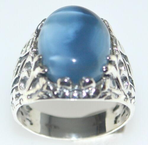 Ópalo azul Owyhee natural de plata esterlina Vintage Caballeros Tamaños Del Anillo M 6 a Z+5 15