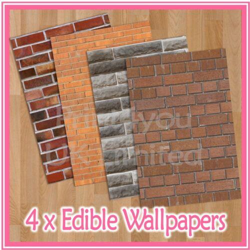 WPS11 bricks brick walls themed 4 x A4 sheets edible wallpaper
