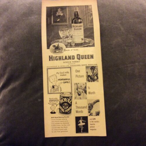 Vintage Advertisement Highland Queen Scotch Whisky 1957