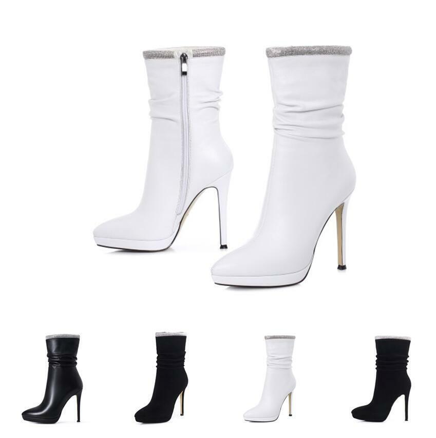 Fashion Damenstiefeletten Platform Slouch Ankle Stiefel Spitz 34-41 Pumps Stiletto