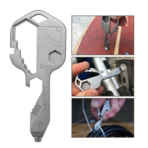 Stainless Steel Multi-Tool Key Shaped Pocket Tool for Keychain w//Bottle Opener N