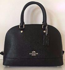 NWT Coach 57555 mini Sierra Satchel Crossgrain Leather handbag Black