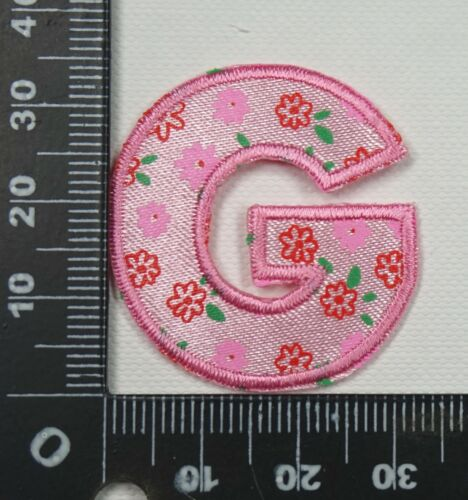 Girls Floral Alphabet Letters Embroidered Motif Fabric Iron On Patch Childrens