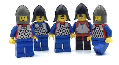 LEGO LOT OF 5 BLACK KNIGHT MINIFIGURES CASTLE SCAILMAIL SOLDIER MEN ACCESSORIES