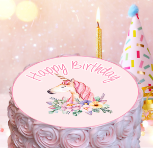 Image Is Loading Pink Unicorn Edible Cake Topper Decoration Girl Baby