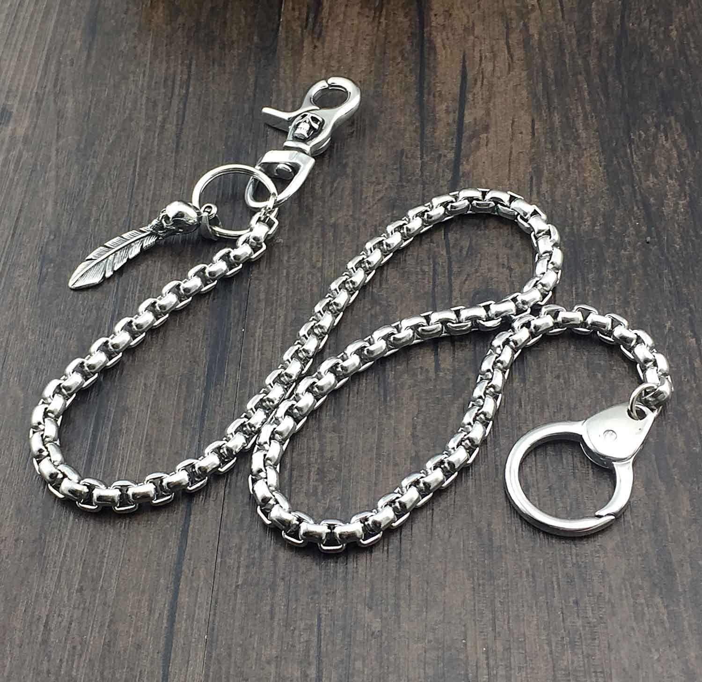 High Quality SKull Stainless Steel Biker Wallet Jaans Key Chain 24 inch