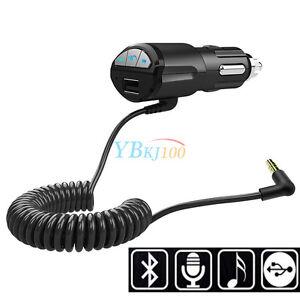 A2DP-Bluetooth-3-5mm-AUX-Musik-Adapter-USB-KFZ-Freisprecheinrichtung-Ladegeraet