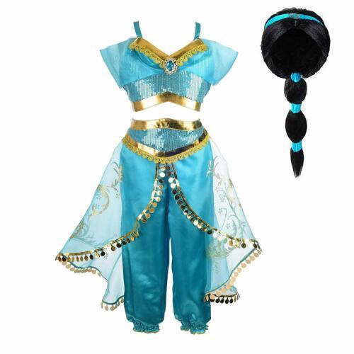 Children jasmine Aladdin Dress Costume Arabian Sleeveless Sequin Outfit Princess