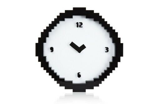 Pixel Time Wall Clock 8 Bit Retro Video Game Computer Analog Battery Operated
