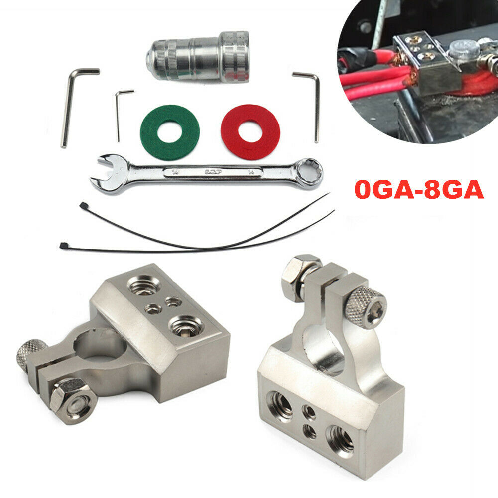 0GA-8GA Battery Protection Gasket Positive and Negative Battery Clips w/Wrench