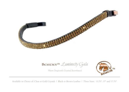 "Cob//Horse15.75/"" Gold//Blk Luminocity Wave Crystal Dressage Bridle Browband Size"