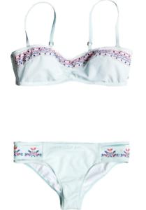 Roxy-Bikini-bandeau-DELICADA-Touch-70s-Pant-verde-suave-blanco-NUEVO