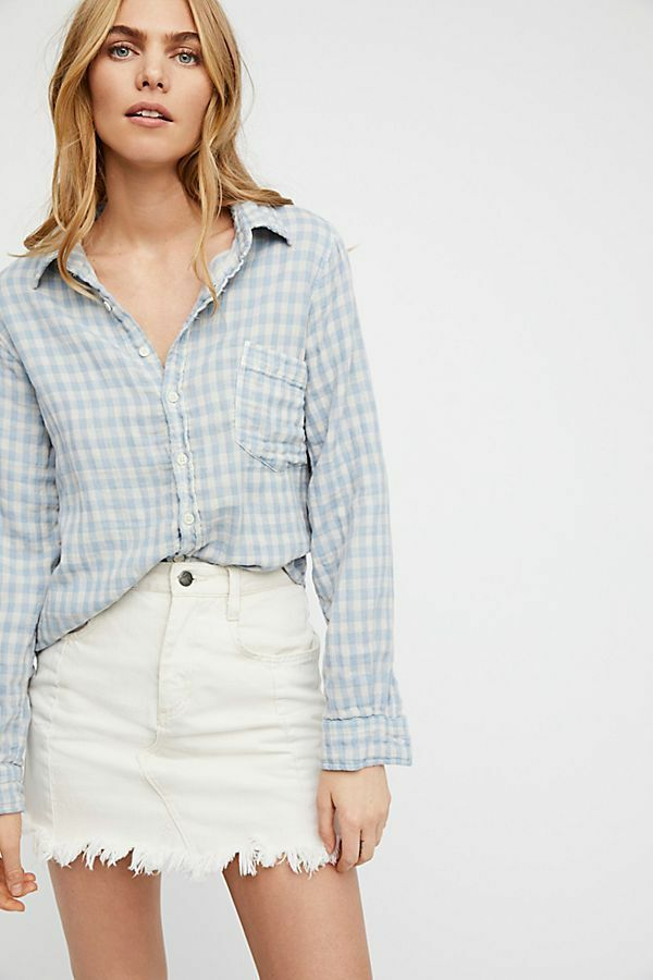 Free People CP Shades Kayla Gingham Button Down Blau Top XS Small Medium Large