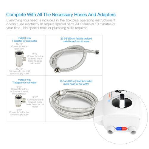 Toilet Bidet Dual Nozzle Hot /& Cold Water Adjustable Water Pressure Temperature