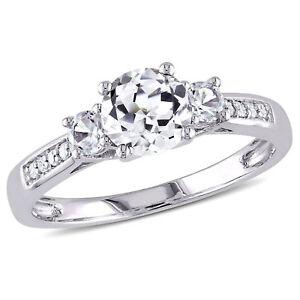 Amour 10k White Gold Gemstone and Diamond Three-Stone Ring