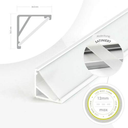 Profil LED Unterputzmontage Lichtleiste Aluminium Montageschiene Abdeckung1-2m