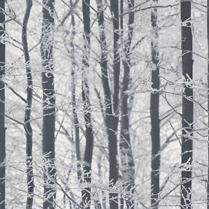 Details About Woodland Wallpaper Trees Winter Forest Glitter Sparkle White Grey Black Silver