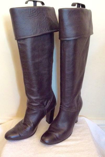 DorTHY PERKINS DARK marron LEATHER KNEE HIGH bottes Taille 5 38