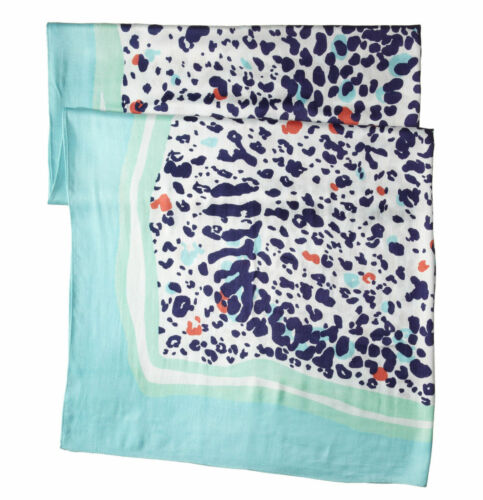 $118 New Lilly Pulitzer Lillian Scarf Bright Navy Leopard Get Spotted SHAWL WRAP