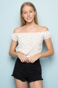 d10e3b6d173d4c New! brandy melville crop White red Floral off shoulder rio top NWT ...