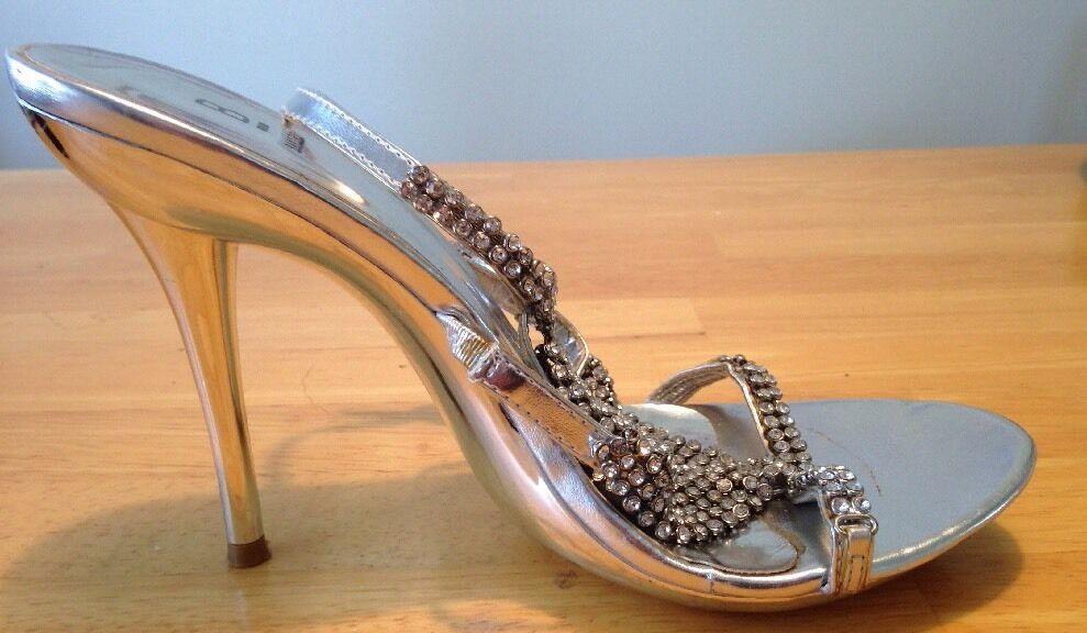 Silber Silber Silber Leather Baker Store Maithar Heels - Open Toed - Größe 8 33951e