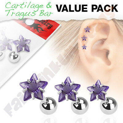 Tragus/Cartilage Stud with Purple Jewelled Star 3 Piece Pack