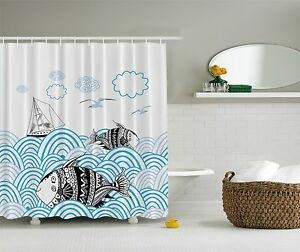 Image Is Loading Blue Ocean Nautical Sailboat Beach Fabric Shower Curtain
